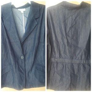 Coldwater Creek Denim Blazer Jacket Size 24